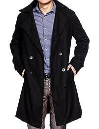 Manteau long Jacket homme parka blazer caban pardessus veste costume coat 3 taille noir