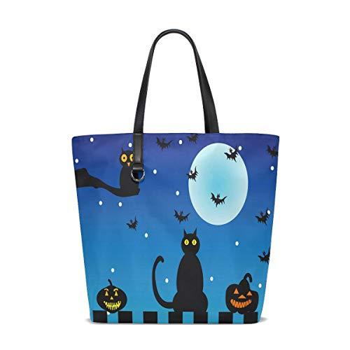 Halloween Nachteule Katze Kürbis Tote Bag Handtasche Handtasche für Frauen Mädchen (Tote Katzen Halloween)