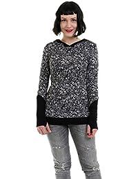 gothique femme pull - Sweat-shirt à Capuche avec poignets - gothic streetwear style manches longues by 3Elfen