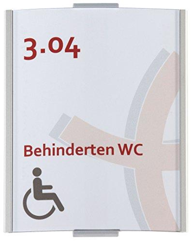 Frankfurt Türschild DIN A6 | 148x120 mm | Aluminium silber | inkl. entspiegelter Abdeckung | Türschild | Büroschild