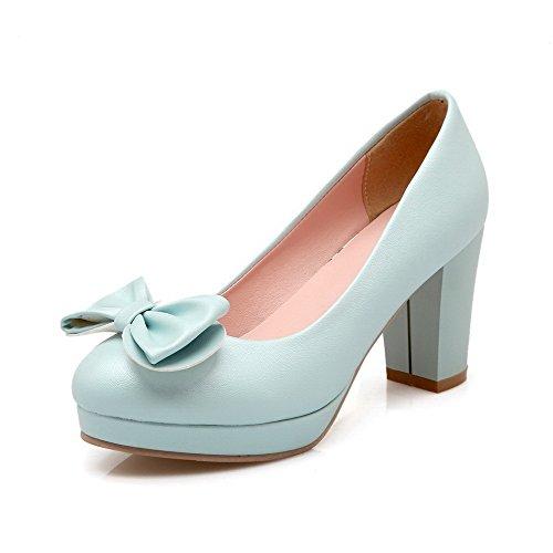 AllhqFashion Femme Tire à Talon Haut Pu Cuir Couleur Unie Rond Chaussures Légeres Bleu de Lac
