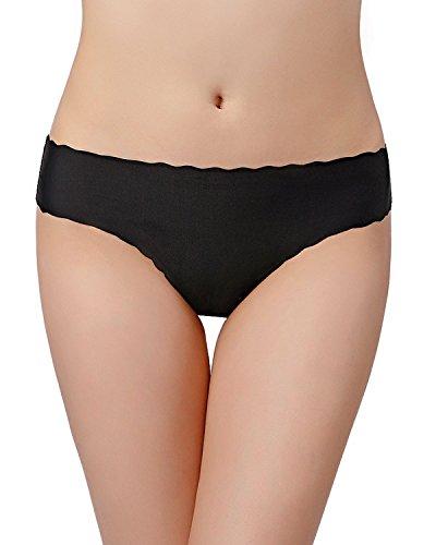 KISSLACE Damen Slip Unsichtbare Nahtlose Dehnbare Bequeme Unterhose Hipsters 6er Pack Schwarz B S=EU42/44