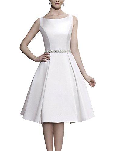 Find Dress Robe d'Audrey Hepburn Rétro Vintage Rockabilly Robe de Soirée/Cocktail/Cérémonie Courte Grande Taille Dos Nu en Satin avec Appliques pour fête Noel Blanc