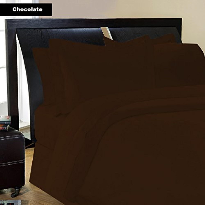 Dreamz Étui Parure de lit égyptien en coton égyptien lit 200 fils Super Doux Finition élégante plissé Boîte 1 Jupe de lit (Drop Longueur: 61 cm) UK Super King Size, taupe, massif 8a670a