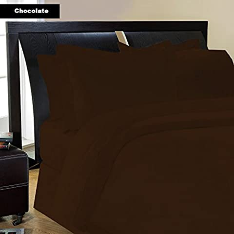 Almohada -4PC Italiano de acabado de 600hilos marrón/chocolate color sólido almohada de cuerpo entero Tamaño (32