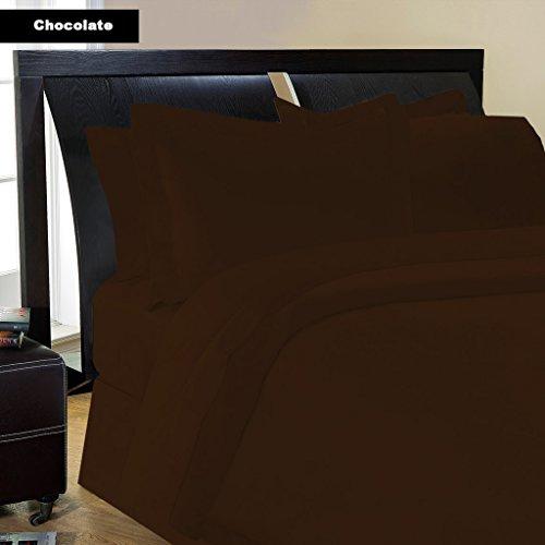 Lenzuolo -1PC con finitura marrone/cioccolato Solid 550TC Italian uk-single lunga Dimensioni 100% cotone egiziano-by Paradise oltremare