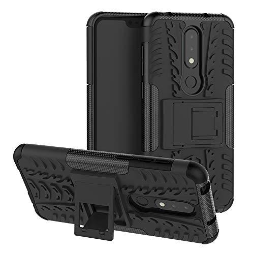 LFDZ Nokia 6.1 Plus 2018 Tasche, Hülle Abdeckung Cover schutzhülle Tough Strong Rugged Shock Proof Heavy Duty Case Für Nokia 6.1 Plus 2018 / Nokia X6 Smartphone (mit 4in1 Geschenk verpackt),Schwarz
