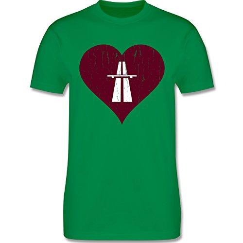 Automotive - Autobahn Herz - Love - Rennsport - Vintage - L190 - Premium Männer Herren T-Shirt mit Rundhalsausschnitt Grün