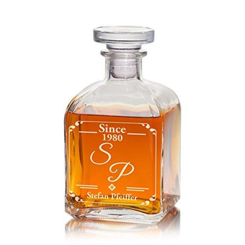 Geschenke 24 Whiskykaraffe (Edel) mit Initialen - gravierte Whiskykaraffe Karaffe mit Gravur - edles Whiskygeschenk für Männer