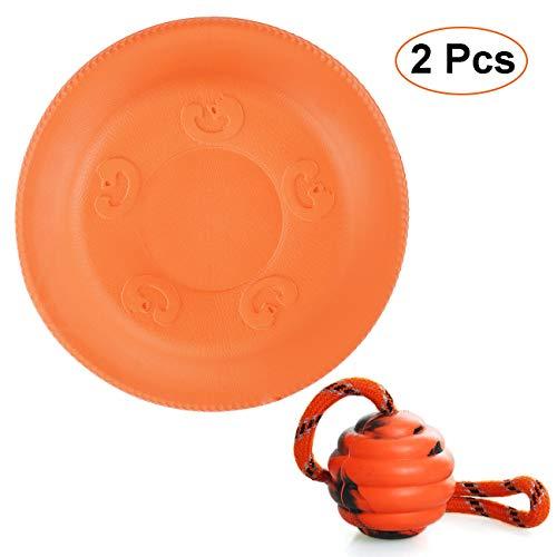 , Naturgummiball, Kann schweben Scheibe Hund, Hund Ball Trainings Spielzeug, Gummispielzeug für Hunde, Wurfball Hundespiel-Ball mit Schnur für Mittel Kleine Hunde Spielzeug ()