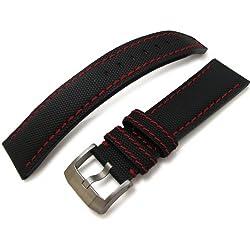 23mm MiLTAT Matte Black Kevlar Watch Strap in Red Stitches