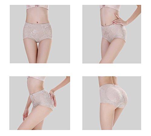 Orilife Women's Mid-waist Jacquard Breathable Butter Lifter Hip Enhancer Panties Nude