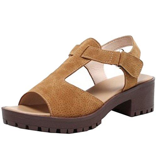RizaBina Femmes Classique Bloc Sandales Talons Moyen T-strap Peep Toe Scratch Chaussures Marron
