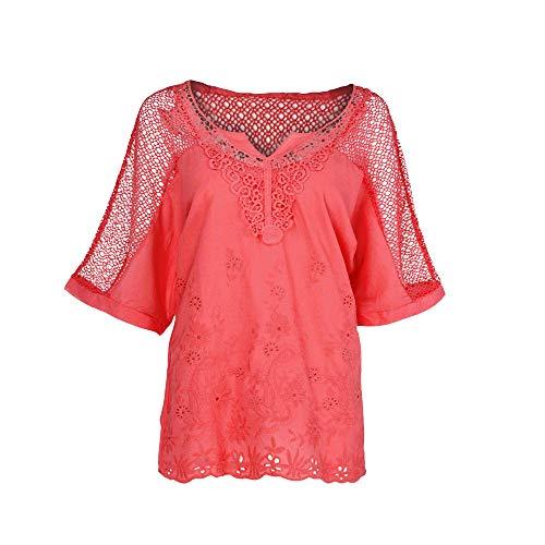 Kostüm Höhle Womens Girl - iHENGH Damen Sommer Top Bluse Bequem Lässig Mode T-Shirt Blusen Frauen Oansatz Kurzschluss Hülsen höhlen heraus festes beiläufiges Blusen Oberseiten T-Shirt aus(Rot, XL)