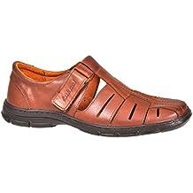 feb99963 Lukpol Sandalias Hombres Cuero Búfalo Genuino Calzado Zapatos Ortopédicos  Cómodos Anti-Choque Modelo-1062