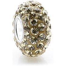 Amarillo citrino Swaroski cuenta para pulsera de cristal - con tapa y función piedra Natal - 925. Broche de plata de ley Core - Compatible con joyas Pandora tipo de pulseras
