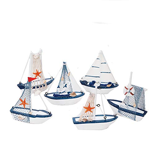 Xeples Holz Segelschiff Deko Retro Segeln Modell Mittelmeer Nautisch Maritim Dekoartikel Meer Schiff Boot 6 Stück (Schiffs Modell Aus Holz)