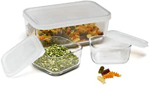 Bormioli Rocco Frigoverre Glass Food-Storage Compact Containers with Lids, Set of 3