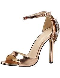 separation shoes 937e3 ccb58 HUYURI Scarpe Donna Classico Tacco Spillo Alto Cinturino Scarpe da Sposa  Banchetto con Cinturino alla Caviglia