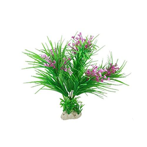 Schmale Blatt Lila Blume Kunststoff Wasserpflanze für Aquarium