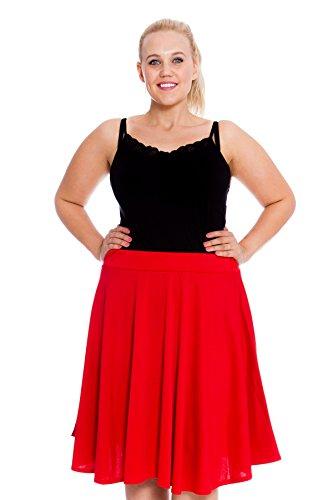 Neu Damen Übergröße Rock Skater Frau Plus-Size Plain Skirt Warm Nouvelle Collection 5007 (Größe 54-56, Rot)