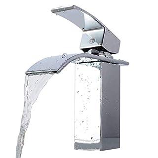 Homgrace Einhebel Wasserhahn Armatur Waschtischarmatur Waschbeckenarmatur Wasserfall für Badezimmer Waschbecken
