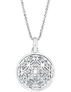 Amor Damen-Kette Kugel mit Anhänger Lebensblume Ornamente 925 Sterlingsilber rhodiniert Zirkonia weiß 45 cm 524391