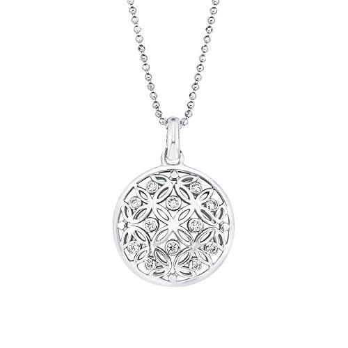 Amor Damen-Kette Kugel 45 cm mit Anhänger Lebensblume Ornamente 925 Sterling Silber rhodiniert Zirkonia weiß