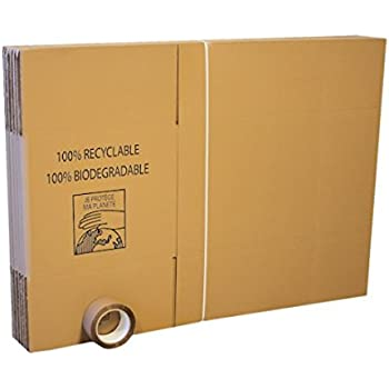 Pack 10 cartons déménagement standard + Adhésif 66m
