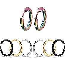 4 pares de pendientes de aro, pendientes de acero inoxidable 4 colores diferentes para mujeres y hombres clips de oreja Stud pendientes túnel Huggie Piercing pendientes de botón 12MM