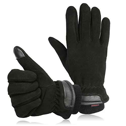OZERO Handschuhe Schwarz Herren, Hirschleder Touchscreen Winter Handschuh - Winddicht und Warm für Outdoor Sport (M)