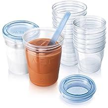 Philips Avent SCF720/10 - Vasos de almacenamiento de comida antiderrame, apto para microondas, adecuados para el frigorífico y el congelador