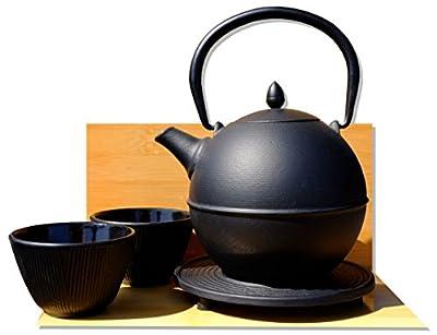 """Cannon Ball Dessous de Plat Bambou Forêt Tasses–""""Théière"""" en fonte Style japonais Noir Tea Pot bouilloire 0.7litre"""