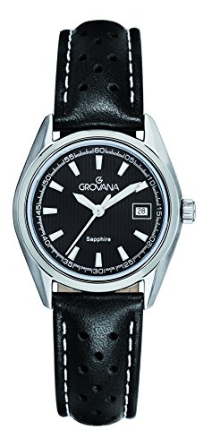 Grovana Women's Quartz Watch with Black Dial Analogue Display and Black Leather Strap 5584.1533