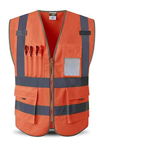 2-ton-tasche (X&x Herren Warnweste Multifunktions 4 Taschen - Two Tone Zip Sicherheitsweste (2 Stück),Orange,XL)