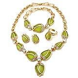 WANZIJING Los Sistemas Verdes de la joyería del Ojo del Tigre, encantan el Conjunto del Pendiente del Collar de la Flor del Oro con el Regalo de cumpleaños Especial del Cristal
