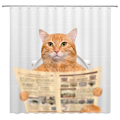 Creative Funny Cat Action Figur Persönlichkeit Einfach und Weiß Dusche Vorhänge 180cmx180cm Nicht Moldy Polyester Wasserdicht Badezimmer Vorhang (mit Haken) Modern 70 x 70 inches Multi W4150 (Dusche Vorhang Liner 180x70)