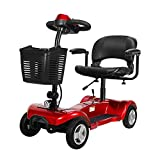 Portable Mobility Scooter, Elderly Intelligent Automatic Portable Wheelchair, Multifunctional Folding,Red