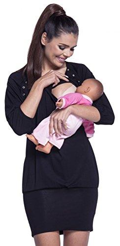 zeta-ville-damen-schwangere-minikleid-still-tunika-elastisch-manschetten-204c-schwarz-eu-38-40-m