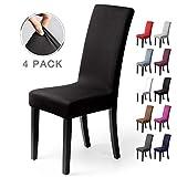 Coprisedie con schienale 4 pezzi Elasticizzato Copertura della sedia bi-elastico per una misura universale, Coppia spandex Coprisedia molto facile da pulire e di lunga durata ( Confezione da 4, Nero)