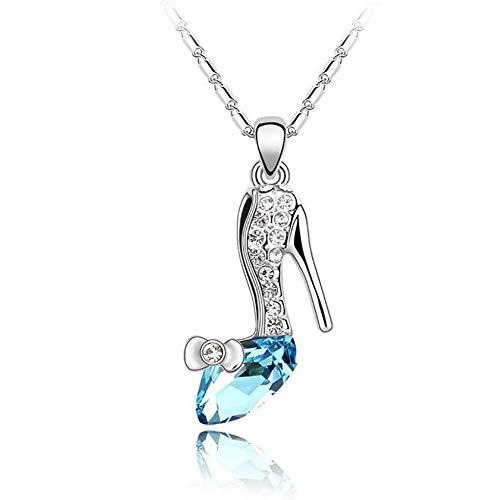 SHYNAN Halskette Qualität weibliche Accessoires, Partei Österreich Kristall High Heels Anhänger Halskette Schmuck,Silver