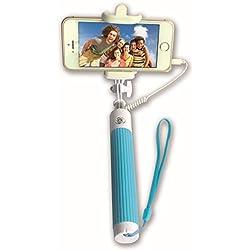 Techly Mini Folding Monopod Telescopic SelfieStick for Smartphone with Cable I-TRIPOD-SELFIE-SM - selfie sticks (Smartphone, Blue, Plastic, Silicone, Stainless steel, Universal, EC FCC RoHS WEEE)