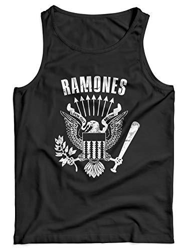 LaMAGLIERIA Camiseta de Tirantes Hombre Ramones Cod Rs01-100% algodón Punk Rock Band, L, Negro