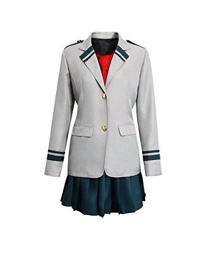 NUWIND Mein Herd Akademie Academia Mädchen Uniform Studentin Anzug Boku Cosplay Kostüm Blazer graue Jacke mit Rock, Krawatte rot (XXL) (Kostüm Mit Roten Jacken)