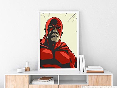 EAU ZONE Home Bild - Superheld mit roter Maske im Comic Stil- Poster Fotodruck in höchster Qualität
