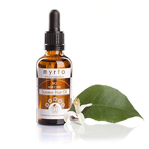 myrto-naturalcosmetics - Bio Summer Hair Oil | Repair Haaröl mit natürlichem Sonnenschutz ✔ kaltgepresste Pflanzenöle ✔ Haarkur gegen Spliss und Haarbruch ✔ in Braunglas ✔- 50 ml