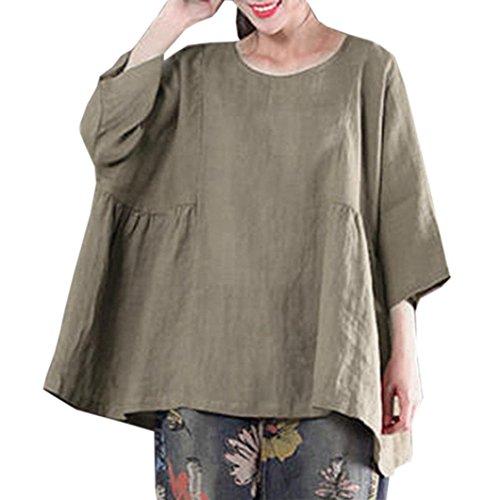 Lucky mall Frauen Sommer T-Shirt, Rundhals Pullover Retro Lose Tops Sweatshirts & Kapuzenpullover für Damen