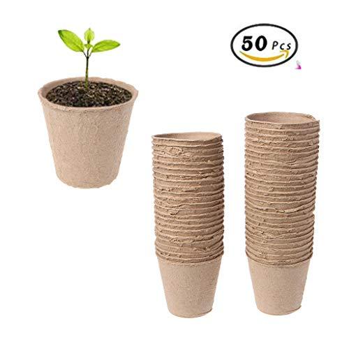 Jiamins Pots de semences de Fibres biodégradables pour semis, Lot de 50