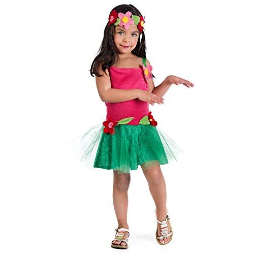 Hawaii Girl Lilo Kostüm Kinder 2-tlg Kleid mit Haarschmuck pink grün - 3 Jahre (Grün, Pink, Kleid)