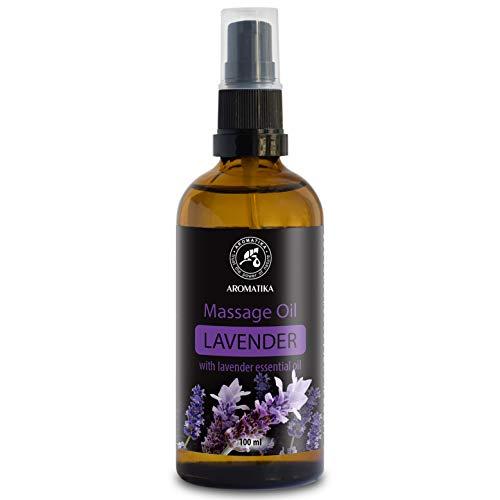 Olio da Massaggio alla Lavanda 100 ml - 100% Puro & Naturale -Lavender massage oil - Antistress - Buon sonno - Bellezza - Cosmetici Naturali - Pelle - Bottiglia di Vetro